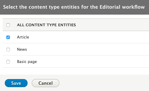 Select the Content Types which shall be dispalyed on Content Kanban page