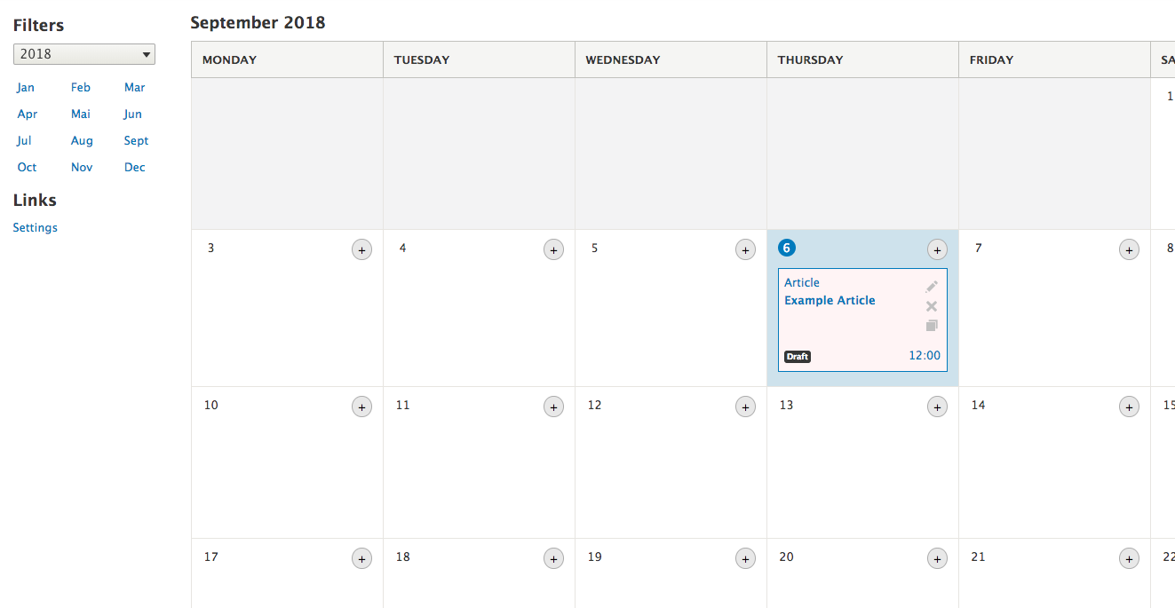 Content Calendar with example content.